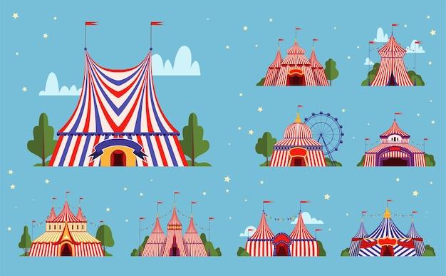 서커스 텐트. 스트라이프 라인 테두리 삽화가있는 축제 이벤트 또는 파티 공원 텐트. 프리미엄 벡터