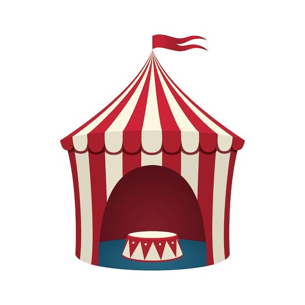 Цирковой шатер на белом фоне. иллюстрация. Premium векторы