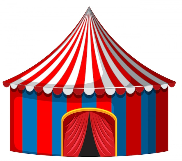 Circus tent in red and blue Free Vector