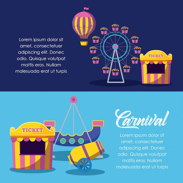 Circus tent sale ticket with set icons Premium Vector