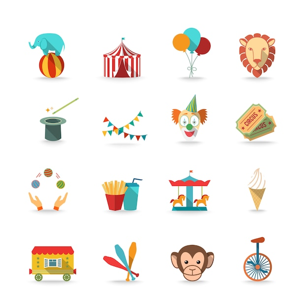 Circus tent with monkey and lion and clown magical wand triks icons set flat isolated Free Vector