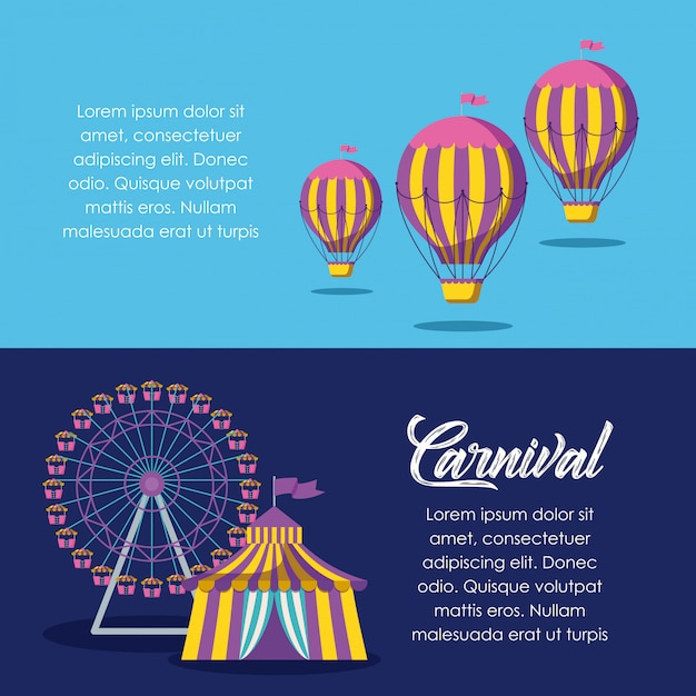 Circus tent with panoramic wheel and balloons air hot Premium Vector