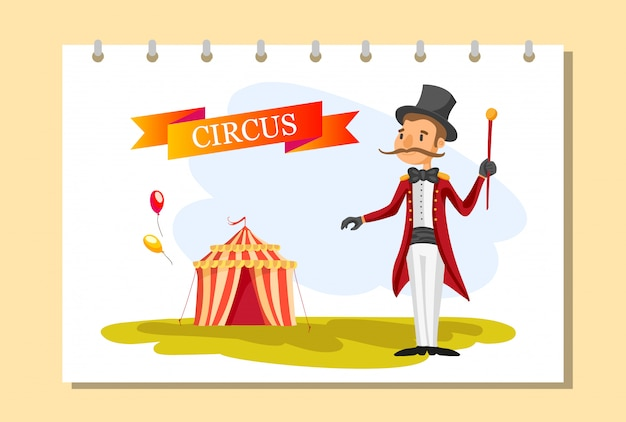 Circus ticket. carnival poster.circus show. different circus artists. Free Vector