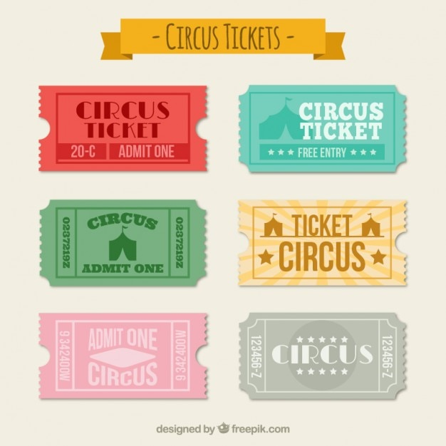 Circus Tickets Collection Vector Free Download