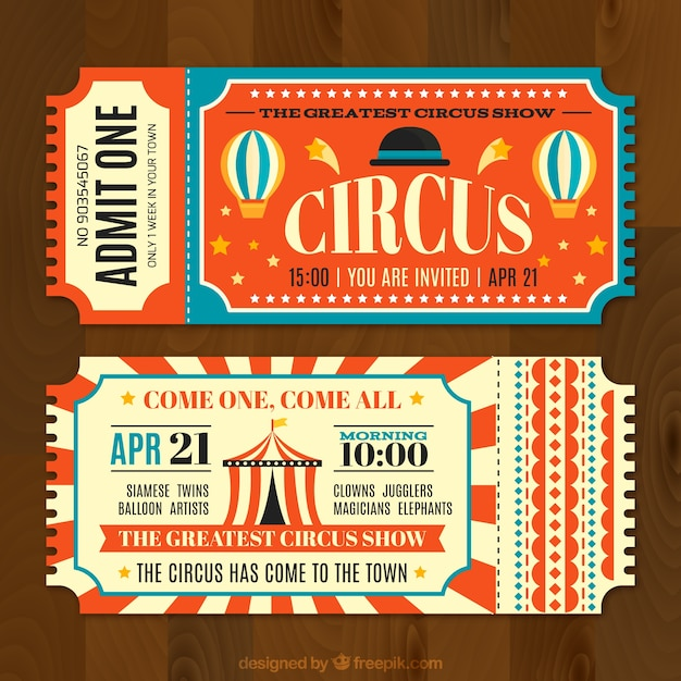 Circus tickets in vintage style Vector | Free Download