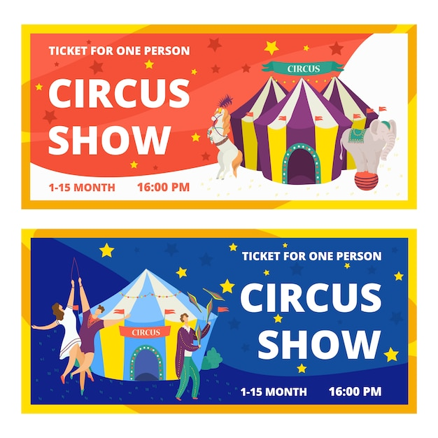 Circus tickets set of carnival entertainment horizontal banners with animals show and performance with acrobats and magician  illustration. circus tickets festival magic event template. Premium Vector