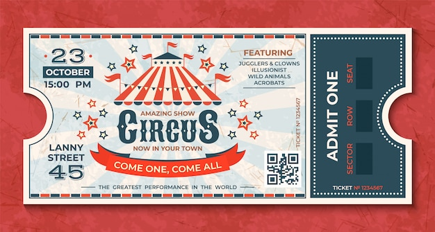 Circus tickets. vintage carnival event retro luxury coupon with marquee and party announcement. circus luxury greeting card Premium Vector