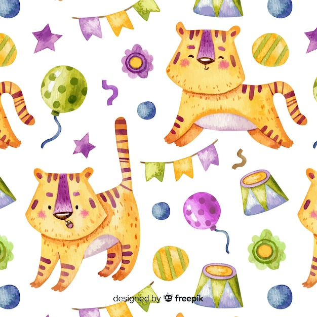 Circus tiger pattern Free Vector