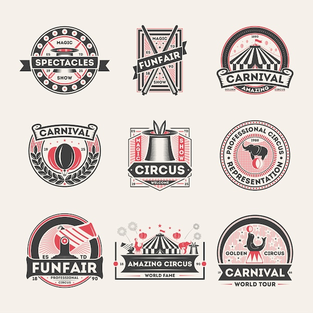 Circus vintage isolated label set Premium Vector