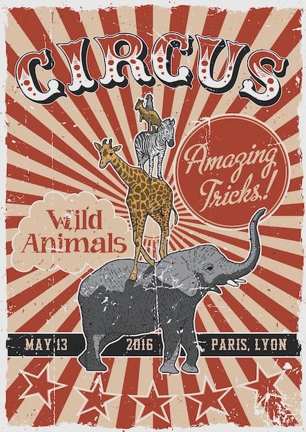 Цирковой старинный плакат с рисованными животными, такими как слон и жираф Бесплатные векторы