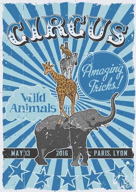 Цирковой старинный плакат с рисованными животными, такими как слон и кенгуру Бесплатные векторы