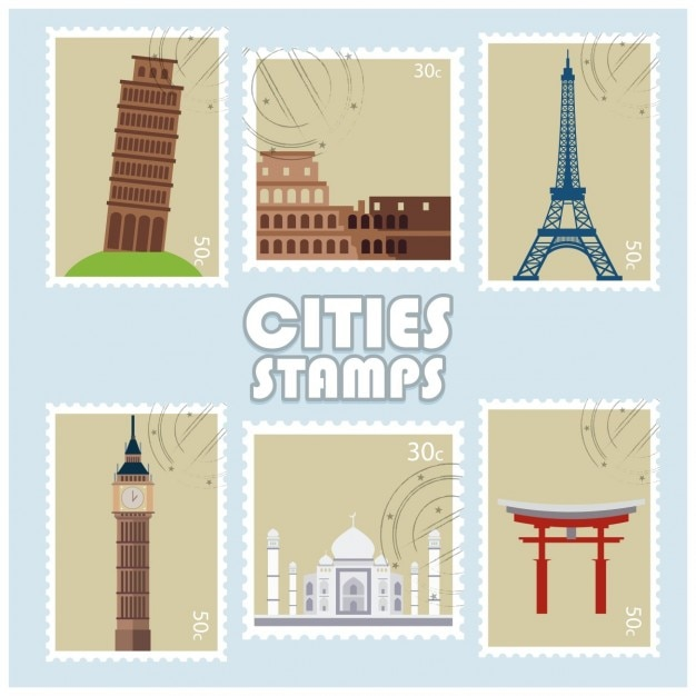 Cities stamp with famous world landmarks Free Vector