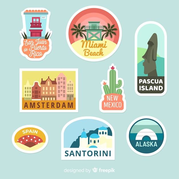 Cities travel sticker collection Free Vector