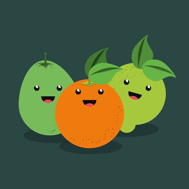 Citric fruits design with kawaii fruits icon Premium Vector