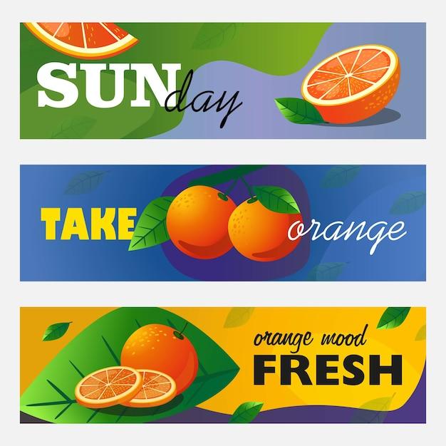 柑橘類のバナーセット。オレンジ色の果物を丸ごと切り取り、テキスト付きのベクターイラストを残します。新鮮なバーのチラシやパンフレットのデザインのための食べ物や飲み物のコンセプト 無料ベクター