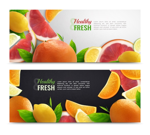 Freepik Citrus Colorful Horizontal Banners With Fresh Fruit Set And Healthy Caption Realistic Vector For Free