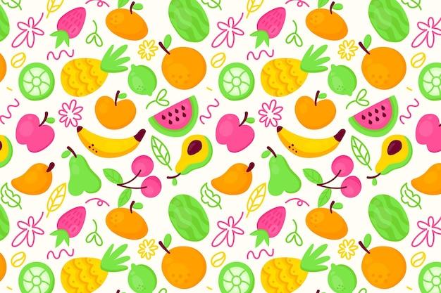 Цитрусовые экзотические фрукты бесшовные коллекции Бесплатные векторы