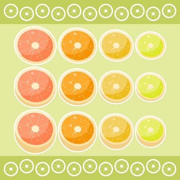 Citrus fruits Premium Vector