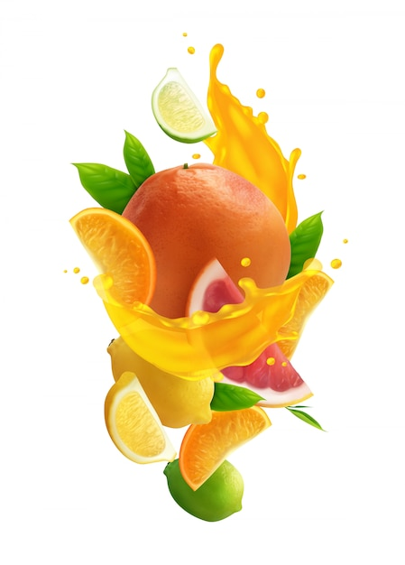 Citrus juice colored composition with realistic fresh fruits and splash of juice on white background Free Vector