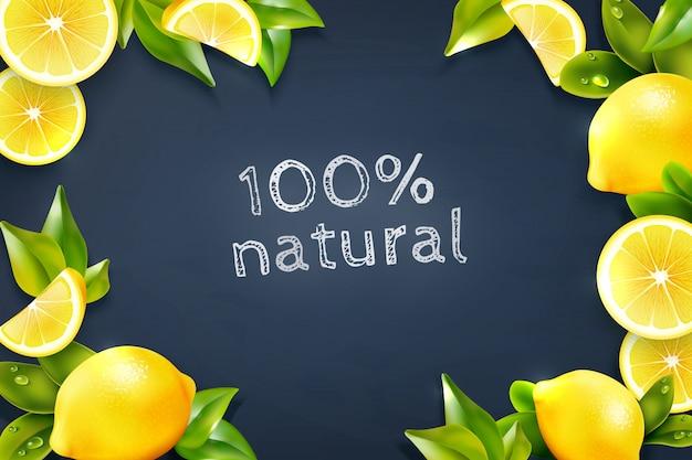 Citrus lemon frame blackboard background poster Free Vector