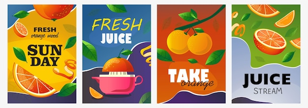 Set di poster di agrumi. frutta intera e tagliata, illustrazioni vettoriali di ramo di arancio con testo. concetto di cibo e bevande per la progettazione di volantini e opuscoli freschi Vettore gratuito