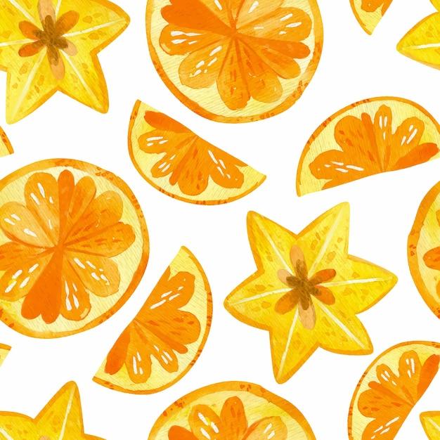 Цитрусы и карамбола рисунки бесшовные модели. текстура смеси летних фруктов. Бесплатные векторы