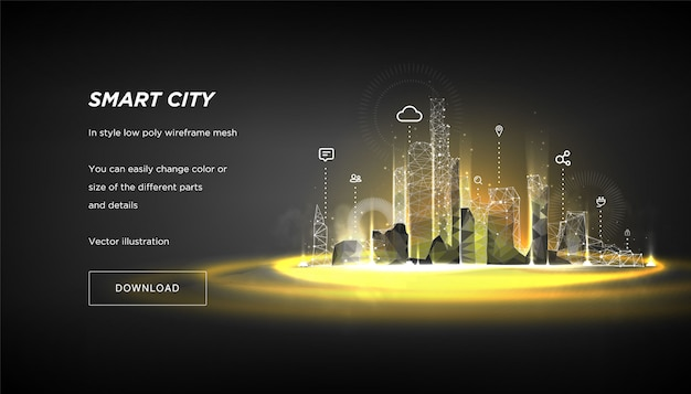 City of the abstract low poly wireframe on dark banner template Premium Vector