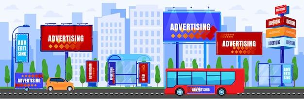 Городская реклама векторные иллюстрации, мультяшная плоская городская панорама городского пейзажа с современным небоскребом с рекламным щитом Premium векторы