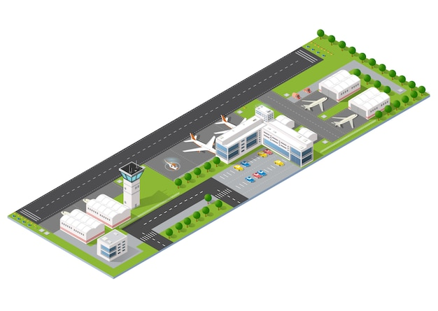 City airport with transport Premium Vector