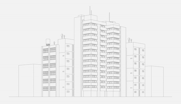 City architecture apartment building block with tower and skyscraper linear sketch vector illustration Free Vector