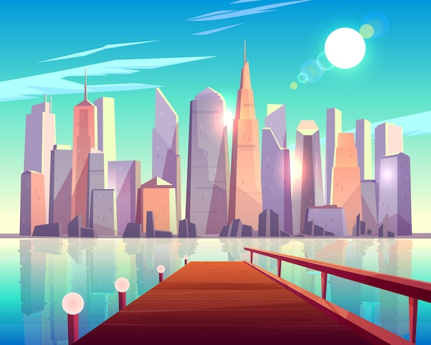 City architecture view from pier. megapolis buildings sparkling in bright sun rays reflecting in water surface. Free Vector