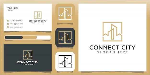 City and art line logo design template, construction logo design template Premium Vector