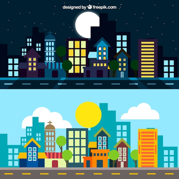 City at night and day illustration Free Vector