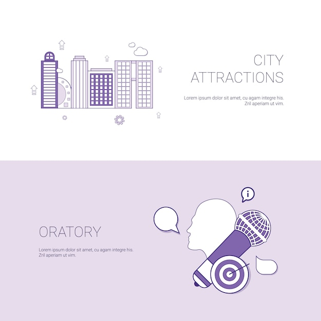City attractions and oratory concept template banner Premium Vector