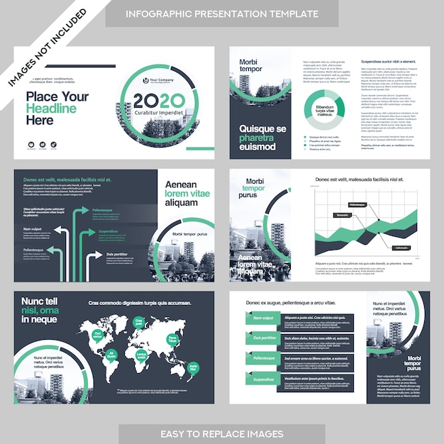 Business report vectors photos and psd files free download city background business company presentation with infographics template pronofoot35fo Images