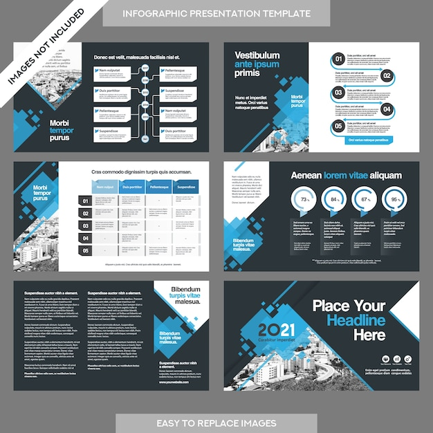 City background business company presentation with infographics template. Premium Vector