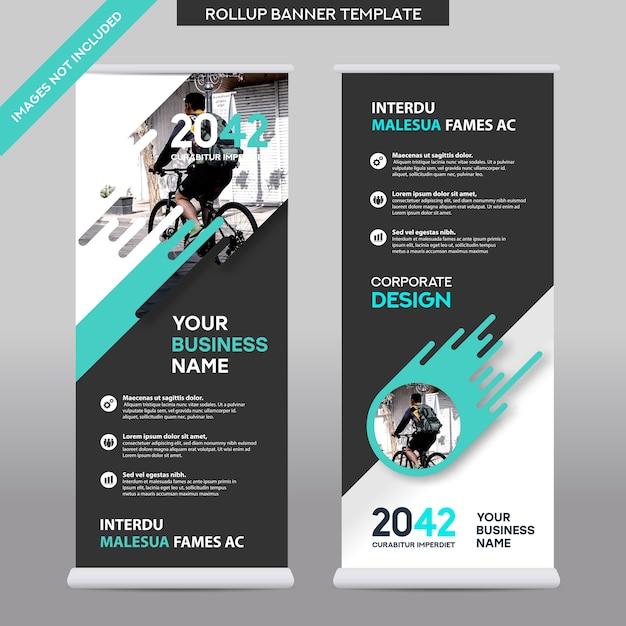 都市の背景ビジネスロールアップデザインtemplate.flagバナーデザイン。パンフレット、年次報告書、雑誌、ポスター、企業プレゼンテーション、チラシ、ウェブサイトに適応できます Premiumベクター