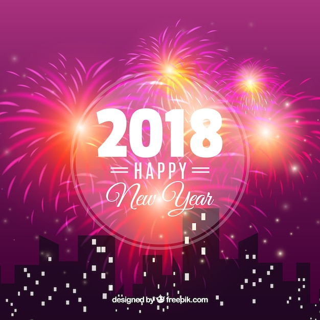 city background celebrating new year free vector