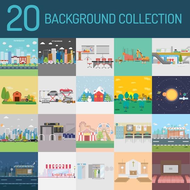 City background collection Premium Vector