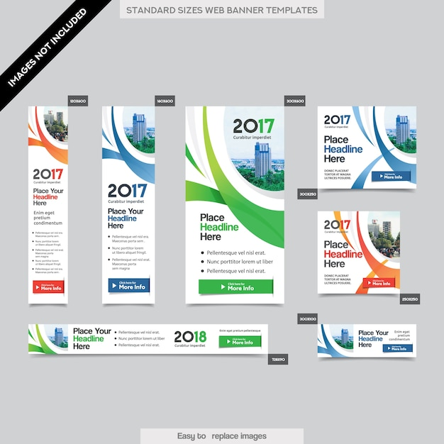 City Background Corporate Web Banner Template in multiple sizes. Easy to adapt to Brochure, Annual Report, Magazine, Poster, Corporate Advertising media, Flyer, Website. Premium Vector