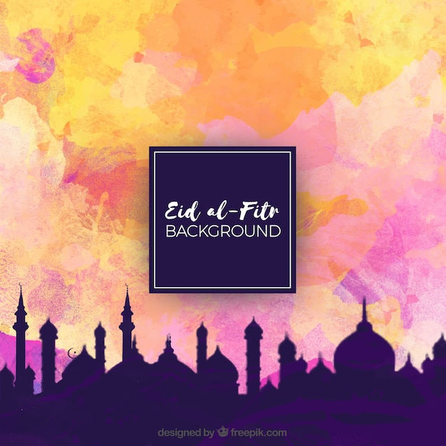 City background of eid al fitr landscape and\ watercolor sky