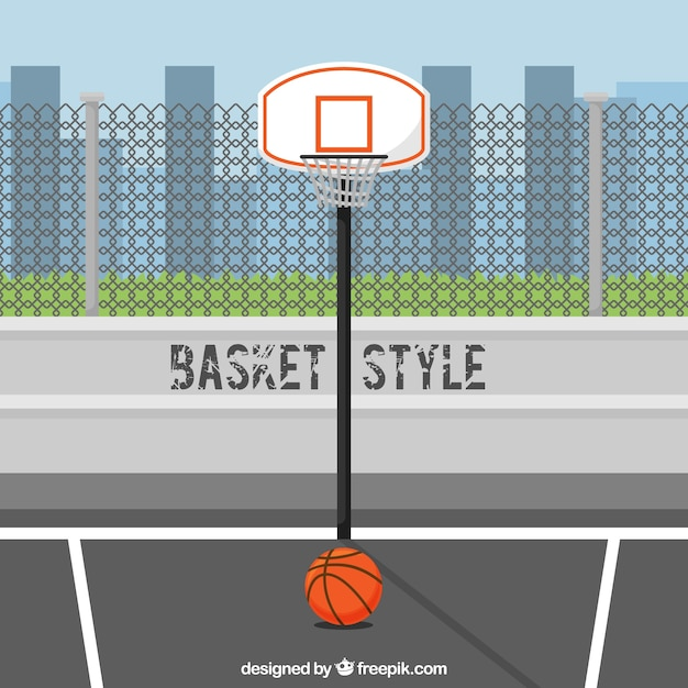 City background with basketball basket