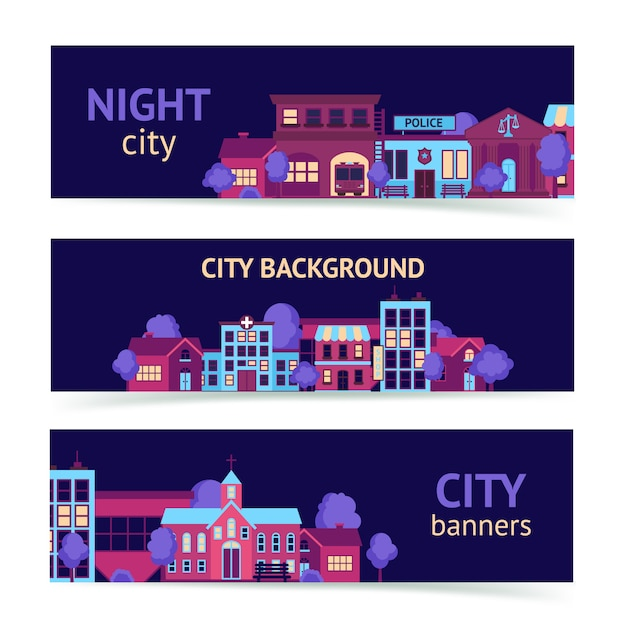 City banner horizontal Free Vector