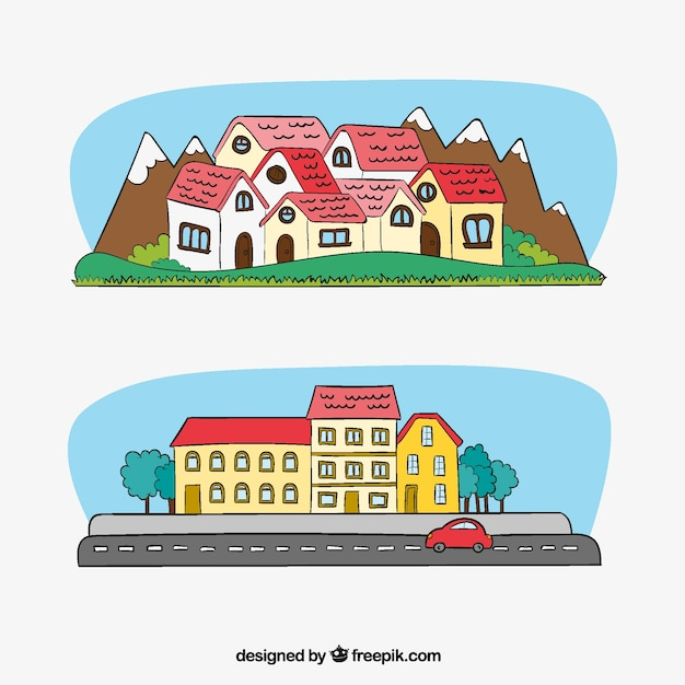 City banners and houses with hand drawn mountains Free Vector