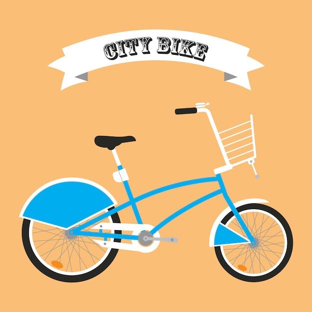 City bike cartoon Premium Vector