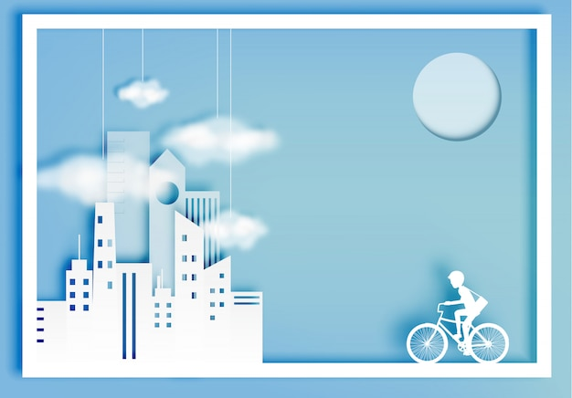 City bike paper art style with city background Premium Vector