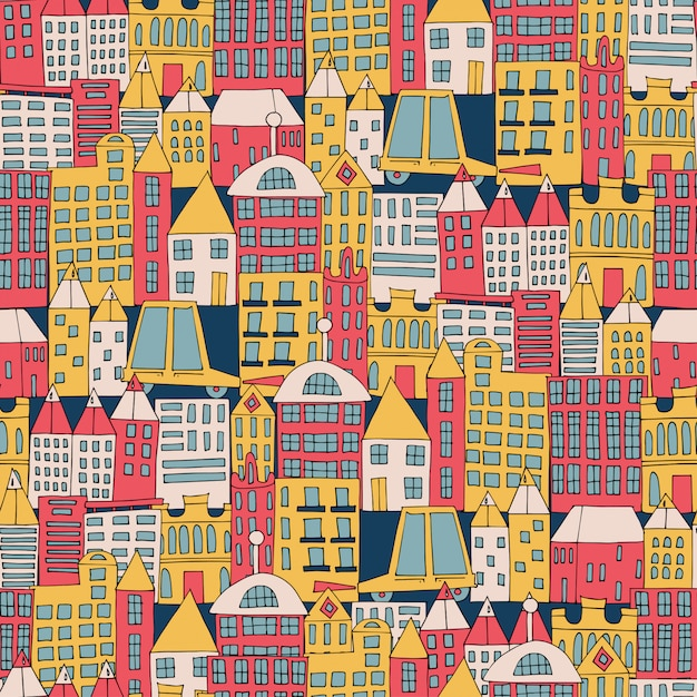 City building in the form of a color seamless pattern. Premium Vector