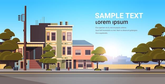 도시 건물 주택 외관 현대 타운 거리 여름 시즌 일몰 풍경 프리미엄 벡터