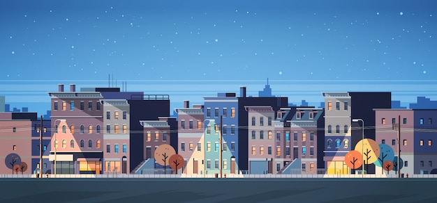 City building houses night view skyline banner Premium Vector