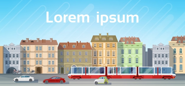 City building houses view with car road tram transport background skyline copy space Premium Vector